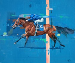 Finishing Line by Pete Hawkins - Original Painting on Box Canvas sized 24x20 inches. Available from Whitewall Galleries